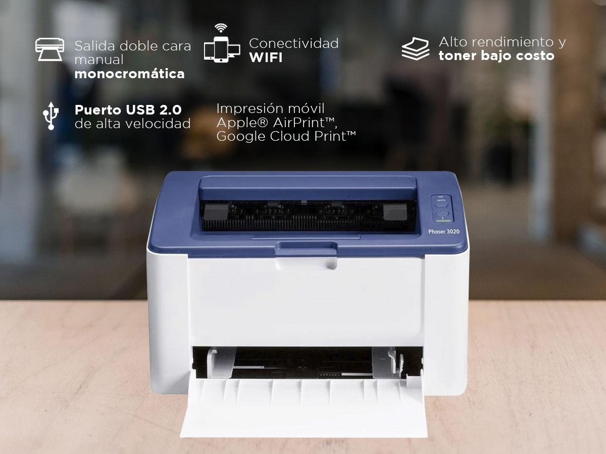 Impresora Láser Xerox Phaser 3020 WiFi Doble Faz Manual