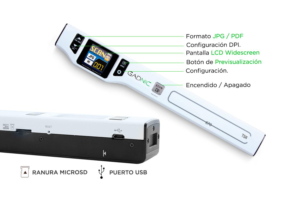 Scanner Portatil Gadnic TSN-670 1200DPI