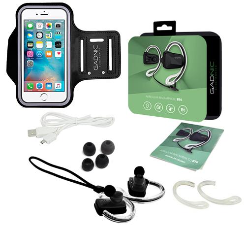 Auriculares Bluetooth Gadnic BT6 se entrega con estos accesorios