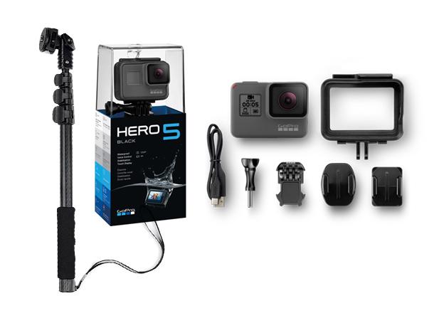 Kit GoPro Hero 5 Black Edition + Bastón Extensible se entrega con estos accesorios