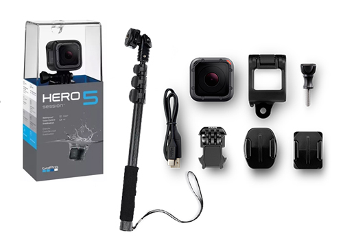 Kit GoPro Hero 5 Session + Bastón Extensible se entrega con estos accesorios