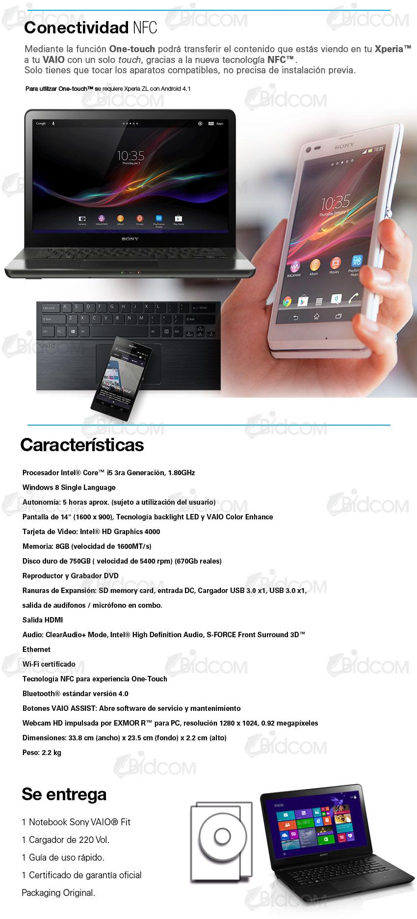 NoteBook Sony Vaio Core i5 Windows 8