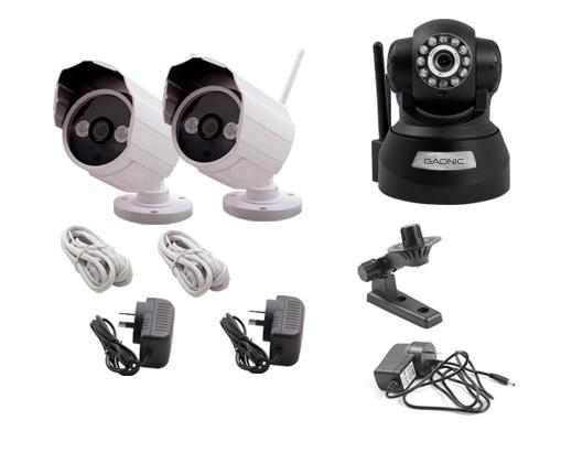 Kit Cámaras Seguridad P2P | 2 Exterior + 1 Interior se entrega con estos accesorios