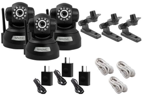 Kit Cámaras Seguridad | 3 Interior Domo Motorizado P2P|IP|Wifi se entrega con estos accesorios