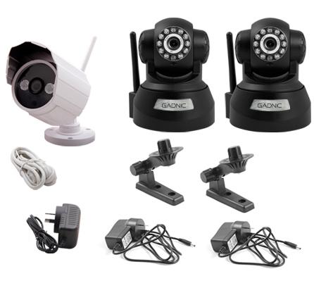 Kit Cámara Seguridad P2P |  2 Interiores + 1 Exterior se entrega con estos accesorios