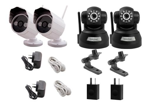 Kit Cámara Seguridad P2P |  2 Interiores + 2 Exteriores se entrega con estos accesorios