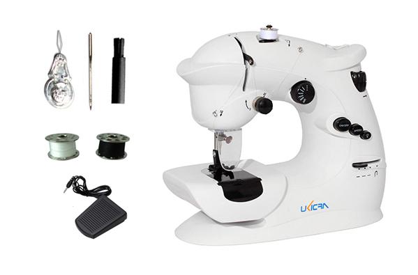 Máquina de Coser UKICRA Portátil – 7 puntadas se entrega con estos accesorios