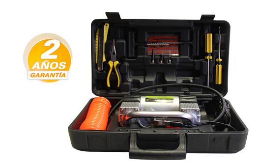 Mini Compresor de Aire 12v en Maletín Slim + Kit de Herramientas se entrega con estos accesorios