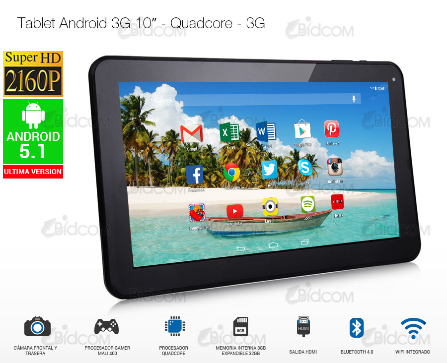 Tablet Android 3G 10″ – Quadcore – 3G