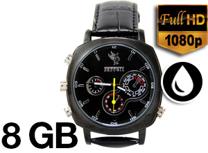 Reloj de Cuero Sumergible High Definition 1080P