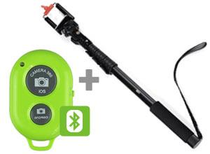 Kit Bastón Extensible Apto GoPro + Control Remoto Shooter Bluetooth