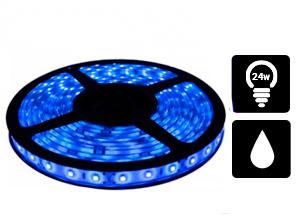 Tira de Led 3528 Azul Exterior 60/m con silicona