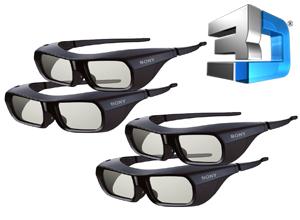 KIT 4 Lentes 3D Activos Recargables Sony