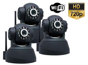 Kit Cámaras Seguridad | 3 Interior Domo Motorizado P2P|IP|Wifi