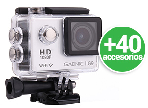 Kit | Cámara Gadnic G9 + 40 Accesorios | FULL HD 1080p | Waterproof | 12 Mpx