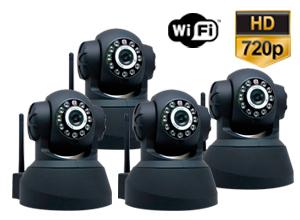 Kit Cámaras Seguridad | 4 Interior Domo Motorizado P2P | IP | Wifi