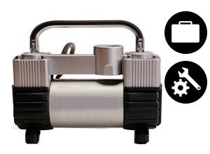 Mini Compresor de Aire 12v en Maletín Slim + Kit de Herramientas